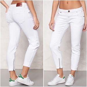 One x One Teaspoon Freebird White Crop Zip Jeans